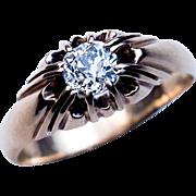 Antique 0.70 Ct Cushion Cut Diamond Gold Ring