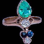 Art Nouveau Antique Emerald Diamond Sapphire Garnet Ring