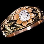 Art Nouveau Antique D-E Color 0.70 Ct Old Mine Cut Diamond Chased Gold Men's Ring