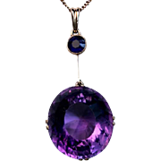 Vintage Russian Amethyst 14K Rose Gold Necklace