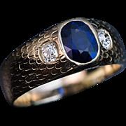 Antique Three Stone Sapphire Diamond Men's Ring
