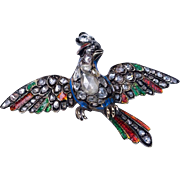 Antique Georgian c. 1750 Diamond Enamel Bird of Paradise Brooch Pin