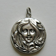 SALE Art Nouveau Lady Water Lily and Cattails Sterling Locket