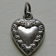 Victorian Heart Border Sterling Heart Charm