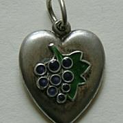 SALE Vintage Enameled Grapes Sterling Heart Charm