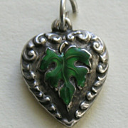 SALE Vintage Enameled Green Leaf Sterling Heart Charm