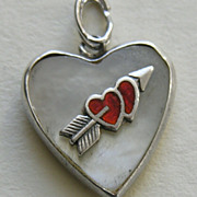 SALE Vintage Enameled Double Heart and Arrow MOP Sterling Heart Charm