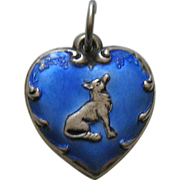 SALE Vintage Blue Enameled Fox and Grapes Sterling Heart Charm