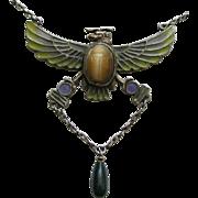 Egyptian Revival Plique 800 Silver Necklace