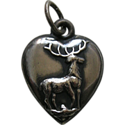 Antique Deer Heart Sterling Charm