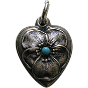 """Vintage Turquoise Paste Pansy """"Mother"""" Sterling Heart Charm"""