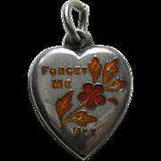 Vintage Burnt Orange Enameled Forget-Me-Not Sterling Heart Charm