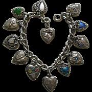 Vintage Thirteen Sterling Heart Bracelet