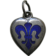 Antique Enameled Blue Fleur-de-lis Sterling Heart Charm