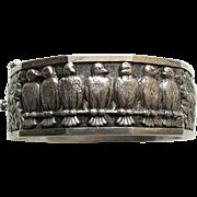 SALE Topazio Vintage Bird and Daisy 835 Silver Bracelet