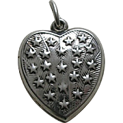 Vintage Large Stars Sterling Heart Charm