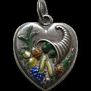 "Vintage Large Enameled Cornucopia ""Jacque"" Sterling Heart Charm"