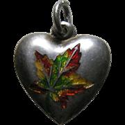 Antique Canadian Enameled Maple Leaf Sterling Heart Charm