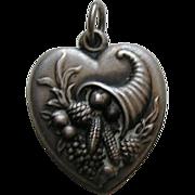 Vintage Large Cornucopia Sterling Heart Charm