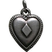 """Antique Ace of Diamonds """"""""A.M.S."""" Sterling Heart Charm"""