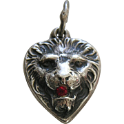 Vintage Lion Garnet Paste Sterling Heart Charm
