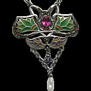 Egyptian Revival Plique Lotus Blossom Paste 800 Silver Necklace