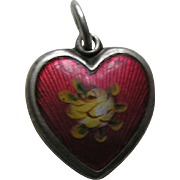 SALE Walter Lampl Enameled Yellow Rose Sterling Heart Charm