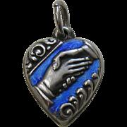 "Vintage Blue Enameled Friendship Handshake ""Lo"" Sterling Heart Charm"