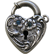 Walter Lampl Blue Paste Sterling Heart Lock