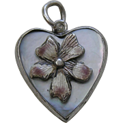 Vintage Enameled Pansy Mother of Pearl Sterling Heart Charm