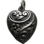 "Vintage ""I Love U""  Sterling Heart Charm"