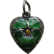 Vintage Green Enameled Pansy Sterling Heart Charm