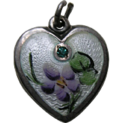 Walter Lampl Enameled Violet Flower of the Month/Birthstone March Sterling Heart Charm