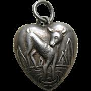 Vintage Deer Sterling Heart Charm