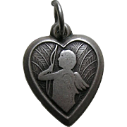 "Vintage Cupid ""Dad"" Sterling Heart Charm"