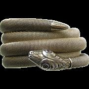 SALE PENDING Art Deco German Snake 800 Silver Wrap Bracelet