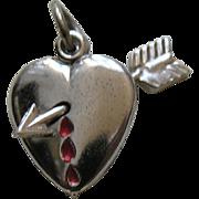 Vintage Bleeding Heart Sterling Charm