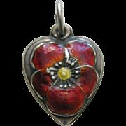 Vintage Enameled Burnt Orange Pansy Sterling Heart Charm