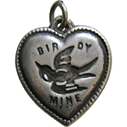 Vintage Rebus Birdy Mine Sterling Heart Charm