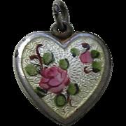SALE PENDING Walter Lampl Enameled Pink Rose Sterling Heart Charm