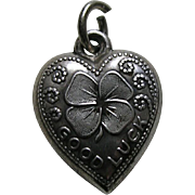 Vintage Good Luck Shamrock Sterling Heart Charm