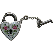 Walter Lampl White Enameled with Pink Roses Sterling Heart Lock and Key