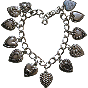 Antique and Vintage Twelve Sterling Heart Bracelet