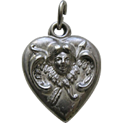 Antique Cupid Bow and Arrows Sterling Heart Charm