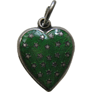 Vintage Green Enameled Stars Sterling Heart Charm