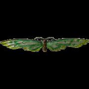 Antique Charles Thomae Enameled Moth Sterling Brooch