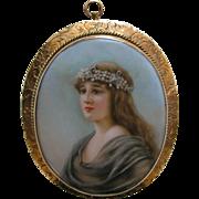 Antique Lady Porcelain 14k Brooch/Pendant