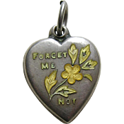 Vintage Yellow Enameled Forget-Me-Not Sterling Heart Charm