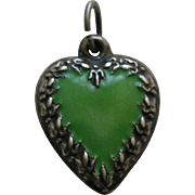 Vintage Enameled Green Fleur-de-lis Border Sterling Heart Charm