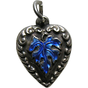 Vintage Enameled Blue Leaf Sterling Heart Charm